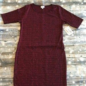 Lularoe Julia Size Large Red Black Textured NWT